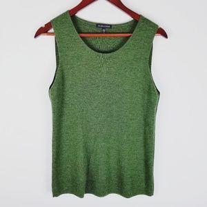 Eileen Fisher green sleeveless tank wool sweater m